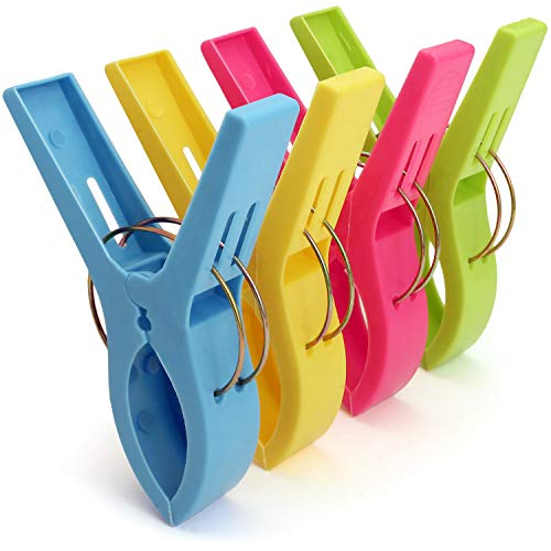 ACAMPTAR Pack van 4 grote heldere kleuren plastic strandhanddoek Pegs Clips naar zonnebank
