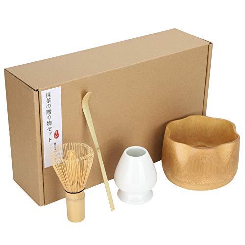 4 Utensilios de Juego de Té Matcha, Ceremonia del Té Japonesa Batidor de Bambú Teaism de Matcha Accesorio de Regalo Kit