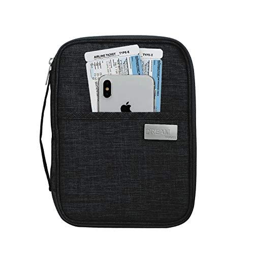 Young Ming Cartera para Pasaporte Organizador Billetera de Viaje Pasaporte Familiar Porta Pasaporte para Hombres y Mujeres Tarjeta de crédito, carnet de Identidad y Billetes de avión, Negro, Grande