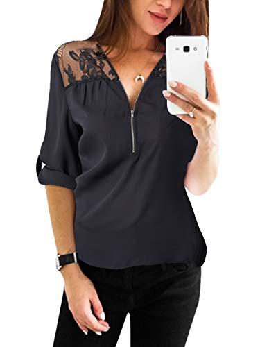 YOINS Sexy Oberteil Damen Sommer Elegante Langarmshirts Damen Bluse Tunika Frühling T-Shirt V-Ausschnitt Tops EU36-38 Lace