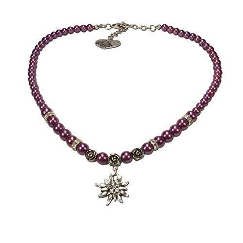 Alpenflüstern Perlen-Trachtenkette Fiona mit Strass-Edelweiß klein - Damen-Trachtenschmuck Dirndlkette lila-violett DHK122