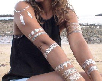 Pack de 3 mixtes Prime Designer Luxe Métallique Or, argent Flash Tatouages corporels temporaires Tatouages éphémères métalliques brillants , motifs varies
