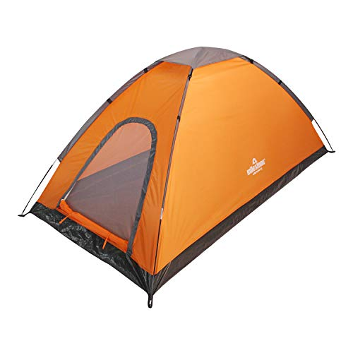Milestone Camping 1 Person Camping 18829 2 Man Festival Dome Tent with Carry Storage Bag, Orange and Grey