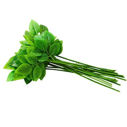 WINOMO 10 stücke Floral Stem Draht mit Blättern Handwerk Blume Draht DIY Handgemachte Blumenanordnung Draht Künstliche Stiele Rose