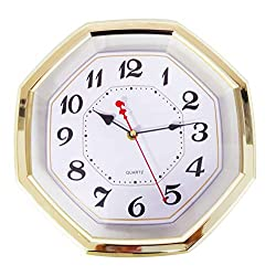 Wall Clock Octagon 11.6 Gold Colored Quality Quartz Battery Operated #UWS01