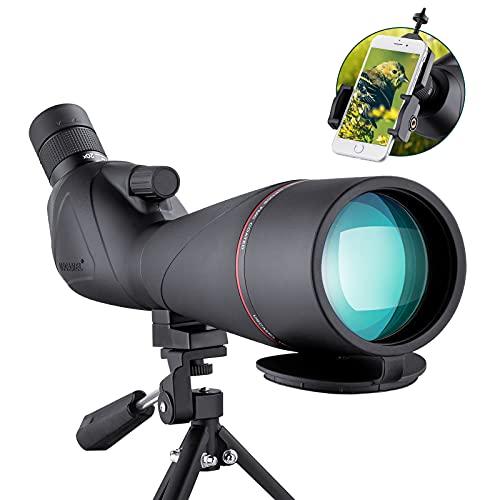 Cannocchiale 20-60X80 con Treppiede, Telescopio Terrestre Astronomico con Lenti Ottiche FMC per Birdwatching Impermeabile e Antiurto con Supporto per Telefono
