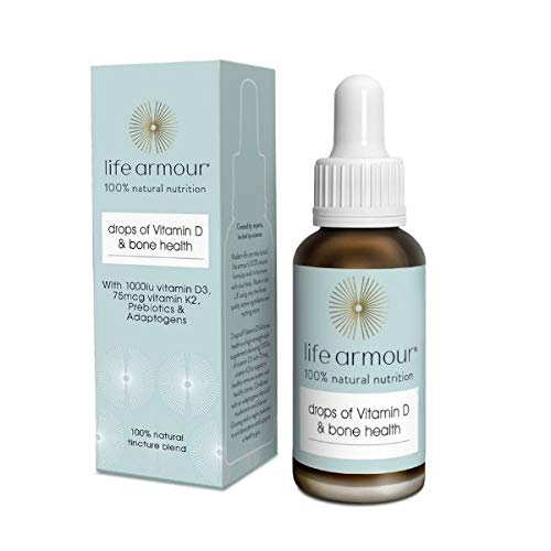 Life Armour Drops of Vitamin D & Bone Health (30ml) - High Strength Vitamin D - Vitamin D Drops - Vegan Vitamin D Supplement - Vitamin K2 - Contains Vitamin D3 Oil 1000 iu - Made in The UK