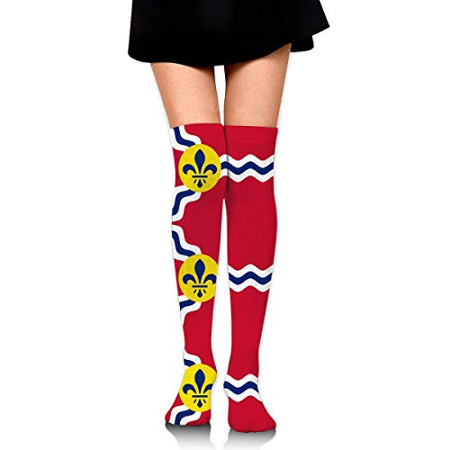 Hdadwy Knee High Socks St. Louis City Flag Women's Athletic Over Thigh Long Stockings