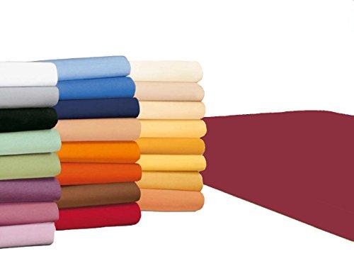 #4 badtex24 Jersey Spannbettlaken, Spannbetttuch, Bettlaken, 90x190 cm – 100x200 cm, Bordeaux