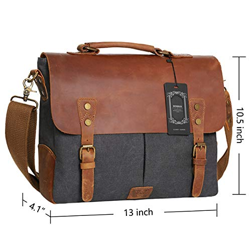 Wowbox Messenger Satchel bag for men and women,Vintage canvas real leather 14-inch Laptop Briefcase for everday use 13″(L)x10.5″(H) x 4.1″(W)(Gray)