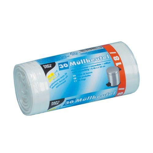 Papstar - 18 x 30 Sacs poubelle, LDPE 18 l 52 cm x 46 cm blanc