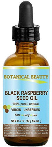 BLACK RASPBERRY SEED OIL. 100% Pure / Natural / Undiluted / Virgin / Unrefined / Cold Pressed Carrier oil. 0.5 Fl.oz.- 15 ml. For Skin, Hair, Lip and Nail Care. One of the highest antioxidants, rich