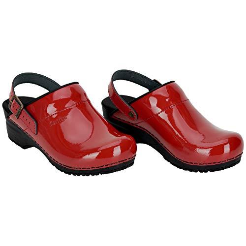 Sanita Freya offener Clog | Original handgemachte, Flexible Leder-Holzclogs für Damen, Größe: 42, Rot