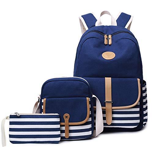 FLYMEI Cute Bookbags for Girls, 15 Inch Laptop Backpack for Women, Lightweight School Backpack Set, Travel Back Pack, Girl Classic Blue Backpack