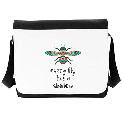 Every Fly Has A Shadow Insect Proverb Crossbody Strap Shoulder Bag - Large