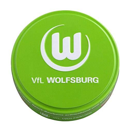 VfL Wolfsburg Bonbons in dekorativer Metalldose - Plus Lesezeichen Wir lieben Fußball