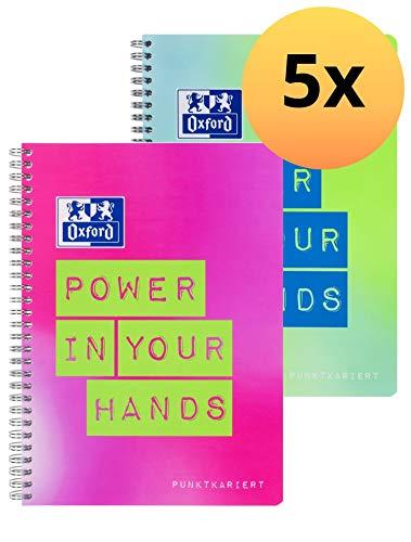 Oxford Collegeblock B5, punktkariert mit Rand, 80 Blatt, mit Spruch, 2 neon Farben, 5er Pack