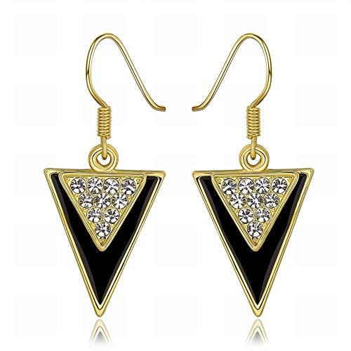 Een paar oorbellen met geometrische diamanten van groen goud/roestvrij staal/hypoallergeen/zilverkleurig/diamant/peque?O en prachtige wildmode. Seductor Oro rosa + oro rosa
