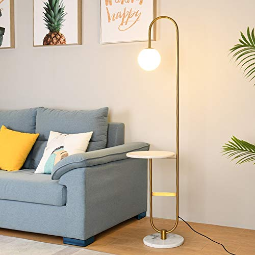 yywl Floor lamp Modern Floor Lamp LED Standing Lamp With Round Table Art Deco Living Room Sofa Reading Lights Hotel Bedroom Bedside Lights Home Decoration (Lampshade Color : Marble)