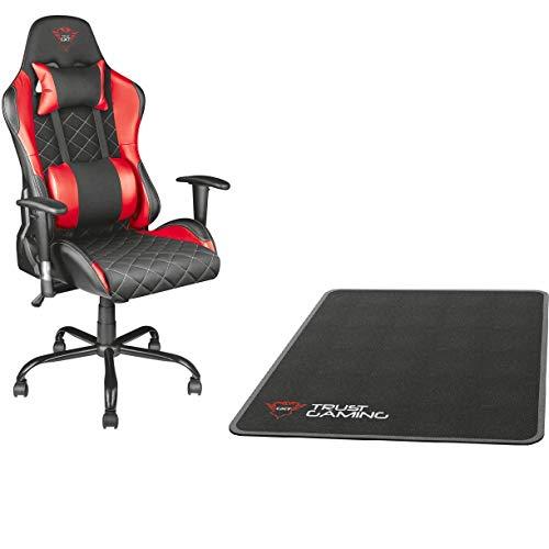 Trust GXT 707R Resto Gaming-Stuhl (Ergonomisch mit Höhenverstellbare Armlehnen) rot + Stuhlunterlage Schwarz (99 x 120 cm)