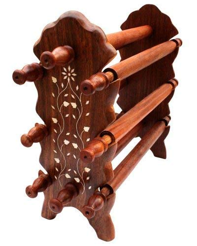 Everyday Deal Armreif-Ständer aus Holz, handgefertigt, 8 Stäbe, mit dekorativen Blumen-Inlays, für Armreif-Organizer, 30,5 cm