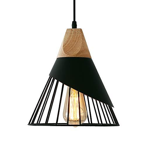 Suspension Luminaire Vintage, Bois Métal design lampe plafonnier Industrielle en luminaires suspension Abat-jour 27 Applique dEclairage pour salle à manger Cuisine