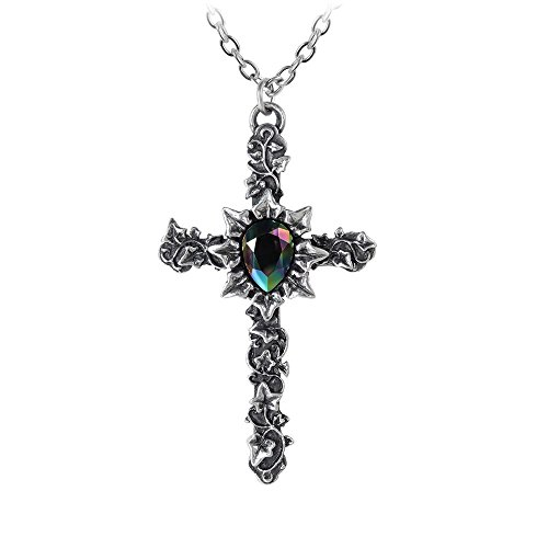 Alchemy Gothic Ivy Cross Necklace Silver-Coloured