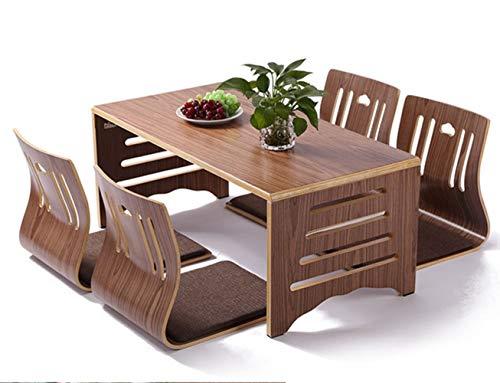 AntiGnor 5pcs / Set Moderne japanische Art Esstisch und Stuhl asiatischen Boden niedrig Massivholz Tischbeine Faltbare Esszimmer Set Zaisu Stuhl (Farbe : Walnut Color Set)