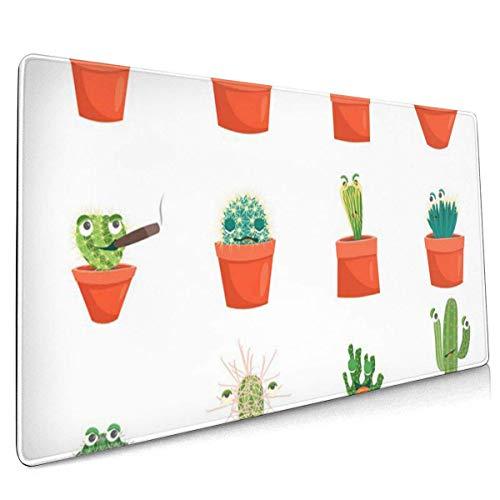 Multifunktions-Gaming-Mauspad, Computertastatur-Mauspads für Spiele - Bunter Wut-Cartoon Lustige grüne Kaktuspflanzen in Töpfen