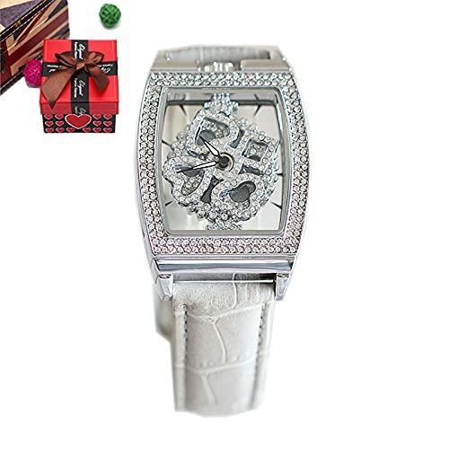Reloj de Cuarzo a Prueba de Agua para Mujer, Reloj de Pulsera para Mujer con Esfera giratoria de 360 ° a la Moda (F)