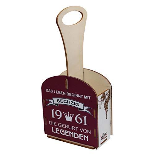 Weinträger aus Holz, Verpackung für Weinflaschen, Weinbox aus Holz, Weinkiste, Geschenkverpackung, Geburtstagsgeschenk, Holzkiste, Geschenke für Männer, 60. Geburtstag, 60 Jahre
