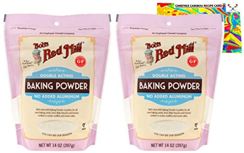 Bobs Red Mill Baking Powder Bundle with Carefree Caribou Recipe Card. Bundle Includes Two (2) Bobs Red Mill Resealable Baking Powders and One (1) Baking Powder Recipe Card from Carefree Caribou.