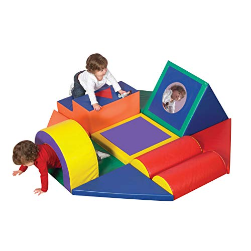 """Children's Factory Shape and Play Obstacle Course, 60"""" by 60"""" by 18"""" – 11-Piece Indoor Climber Builds Strength and Coordination Skills – With Tunnel, Steps, Bumps and More – Easy to Assemble and Clean"""