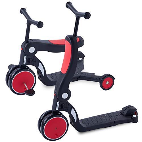 [1年保証] MRG 5way キッズスクーター 3輪 キックボード 子供用 幼児用 シート 折りたたみ ブレーキ付 三輪車 3輪車 2歳 から 6歳 ミニ キッズバイク トレーニングバイク 乗り物 おもちゃ 乗用玩具 (レッド)