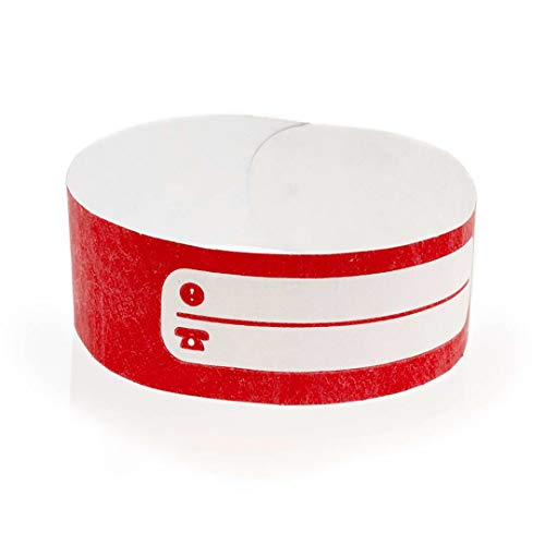 Fun Fan Line - Conjuntos de 100 pulseras identificativas de papel tyvek con pista de escritura para niños y ancianos. Cierre adhesivo resistente, intransferible y resistente al agua. (Color Rojo)