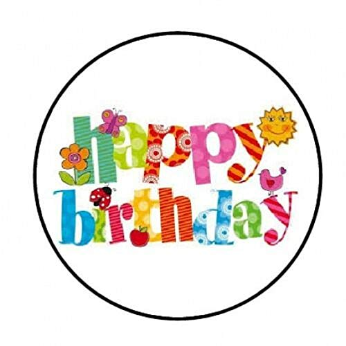 Special Pack 48 Happy Birthday Bright Colors Envelope Seals Labels Stickers 1.2' Round #CUAS