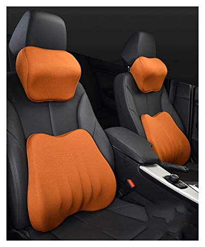 QSWL Lumbar Pillows Back Support Cushions Pillows For Car Seat Office ChairCar Neck Pillows, Headrest Cushions Car Seat PillowLow Back Pillow Chair Cushions With (Color : Orange, Size : 45x39x10cm)