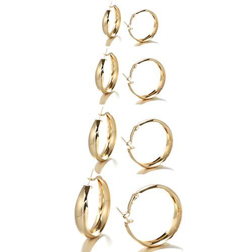 UEUC 18K Gold/Silver Hula Hoop Earrings Set for Women,Lightweight Round Hoop Earrings for Sensitive Ears,Fancy Multiple Sizes(30,40,50,60mm)