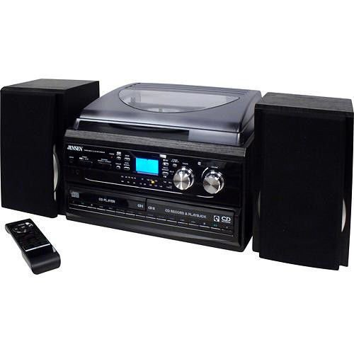Jensen All-in-One Hi-Fi Stereo Dual CD Player Turntable & Digital AM/FM Radio Tuner Tape Cassette Player Mega Bass Reflex Stereo Sound System