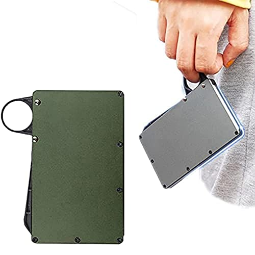 LRJKFS Portatarjetas PopUp a prueba de RFID, soporte para tarjetas de crédito de metal ultrafino para hombre (verde, 10,8 8,5 cm)