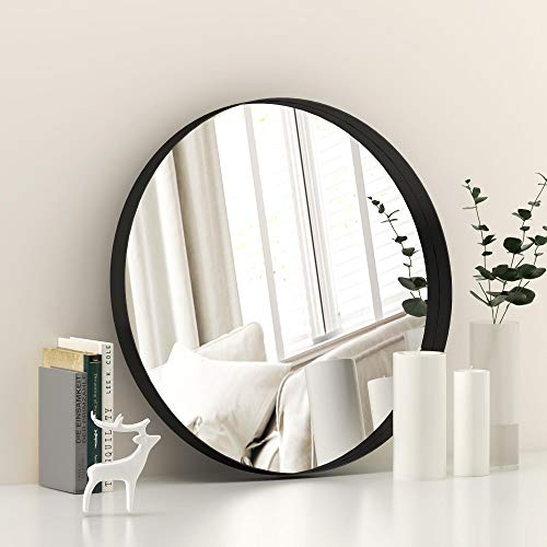 Round Wall Mirror for Bathroom - 20'' 20'' Metal Mirror for Wall Decor, Vanity, Living Room Black Frame Wall Mounted Mirror