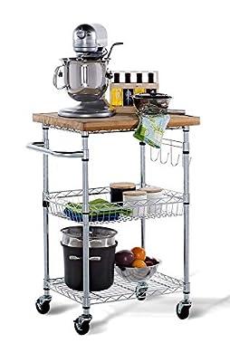 TRINITY EcoStorage Bamboo Kitchen Cart, Chrome by Trinity International Industries, LLC