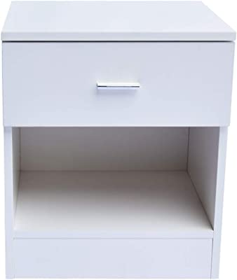 Zebery 1 Drawer Metal Handle Bedside Cabinet Night Table White