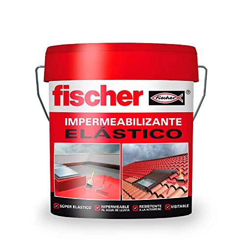 fischer - Pintura impermeabilizante (cubo 20kg) Blanco sin fibras, resistente al agua y exteriores