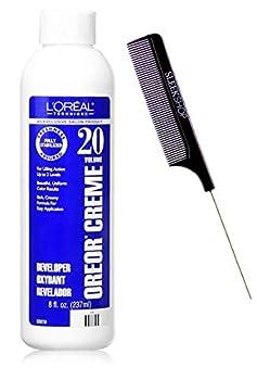 Technique OREOR Creme Developer Activator for Hair Color Dye  w/Sleek Comb  Cream Hydrogen Peroxide Haircolor  20 Volume / 6% - 8 oz size