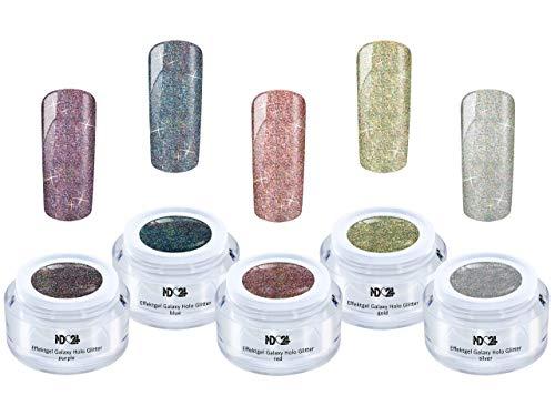 Uv Led Galaxy Holo Set Effekt Gel Naildesign - Nail Art Gel - Studio Qualität (5 X 5ml)