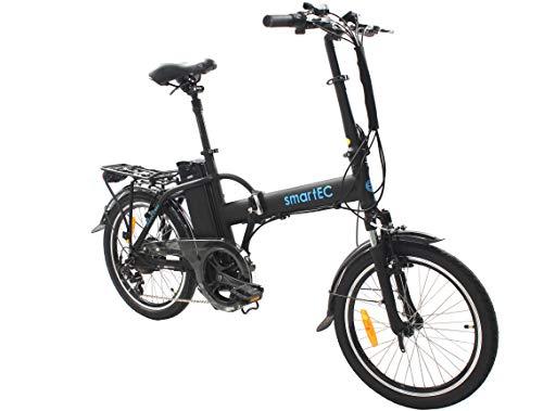 smartEC Camp-20H Klapprad E-Bike, 20 Zoll, Samsung Li-Ion-Akku 36V/250 Watt, Anfahrhilfe, Fahrunterstützung 25 km/h, Reichweite 100 km, Nabenmotor, 7 Gänge (Schwarz)
