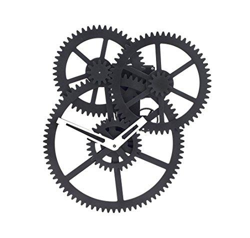 Kikkerland Wall Triple Gear Clock Fahrradaufbewahrung, Schwarz, One Size