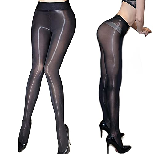 ❤️Women's Sheer Tights Stockings Oil Shiny Stockings Pantyhose Sexy Silk Pantyhose (Black)(Size: One Size)