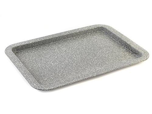 SALTER BW02775G Backblech der Marble-Kollektion aus Kohlenstoffstahl mit Antihaftbeschichtung, 38 cm, grau, Karbonstahl, Blech (38cm)